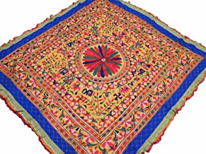 NovaHaat Banjara Yellow Tribal Tapestry Decoration - Vintage Hand Embroidered Huge Indian Wall Hanging with Multi-color Floral Motifs and Mirror Work ~ 68
