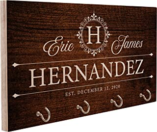 Personalized Wood Key Hook for Couple Mr Mrs| Custom Wall Key Rack Ring Holder Hanger for Wedding Gift | Gifts for Housewa...
