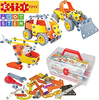 ETI Toys, STEM Learning, 148 Piece Lil Engineers Build & Play 5 Vehicle Building Blocks. Helicopter, Bus, Boat & More. Cre...