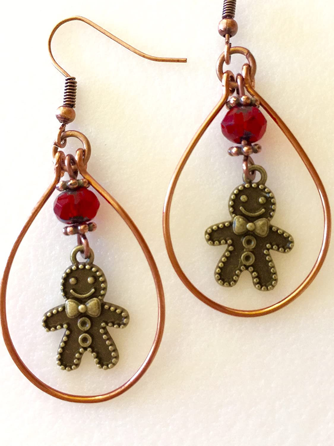 Now on sale Gingerbread Man Earrings Christmas Ruby Free shipping New Red Gi Cookie