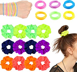 WATINC 84Pcs Neon Hair Scrunchies Jelly Bracelets 80s Retro Party Accessories for Women Fluorescent Color Scrunchie Strong Elastic Hair Bobbles for Ponytail Holder Traceless Scrunchy Hair Ties