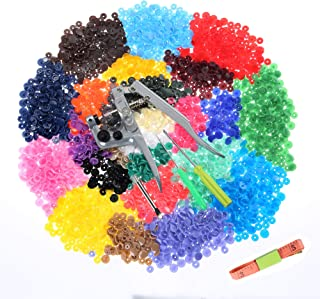 Efivs Arts 1000 Sets T5 Snap Buttons with Plastic Snap Press Pliers Set for Sewing and Crafting-25 Colors