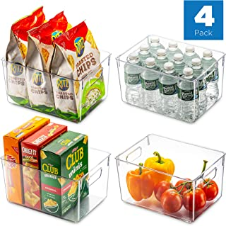 """Set Of 4 Clear Pantry Organizer Bins Household Plastic Food Storage Basket with Cutout Handles for Kitchen, Countertops, Cabinets, Refrigerator, Freezer, Bedrooms, Bathrooms - 11"""" Wide"""