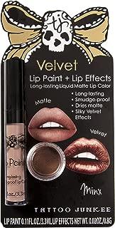 Tattoo Junkee Minx Lip Color + Shimmer Effects, Long Lasting Matte Liquid Lipstick, Mocha Shade