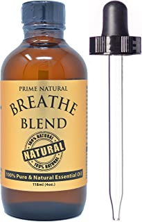 Breathe Essential Oil Blend 4oz / 118ml - Pure Undiluted Therapeutic Grade for Aromatherapy, Scents & Diffuser - Sinus Relief, Allergy, Congestion, Cold, Cough, Headache, Respiratory Problems