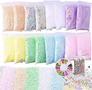 Slime Foam Beads Floam Balls – 18 Pack Pastel Microfoam Beads Kit 0.1-0.14 inch (90,000 Pcs) Micro Colors Rainbow Fruit Beads Craft Add ins DIY Kids Ingredients Flote Microbeads Sprinkles Supplies