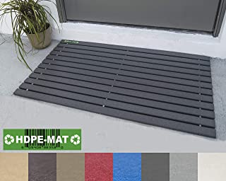 HDPE-MAT UV Resistant Heavy Duty Waterproof Front Door Mat | Stylish Handcrafted Recycled Plastic Poly Lumber Slats - Eco Friendly For Outdoor Entrance Patio Garage Entry Slate Gray