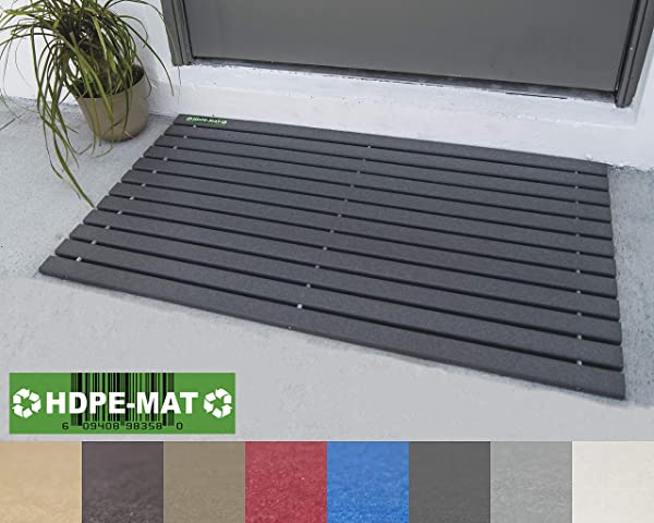 HDPE MAT UV Resistant Heavy Duty Waterproof Front Door Mat Stylish Handcrafted Recycled Plastic Poly Lumber Slats Eco Friendly For Outdoor Entrance Patio Garage Entry Slate Gray