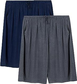 2 Pack Men's Lounge Wear Pyjama Shorts Super Soft Comfy Men's Pyjama Shorts Bottoms Modal Light and Breathable