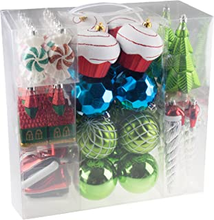 52 Piece Variety Bundle Shatterproof Christmas Tree Ornament Set | 9 Shapes - Trees, Cupcakes, Peppermints, Church, Ice Skates, Santa Icicle | Large 80mm Balls | Festive Holiday Décor | Gift Set