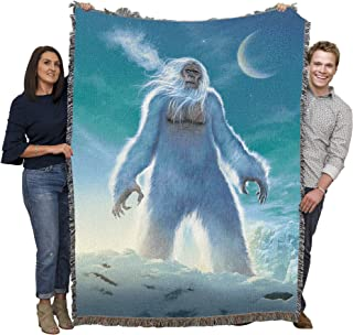 Pure Country Weavers Yeti The Abominable Snowman- by Vincent HIE Woven Tapestry Throw Blanket with Fringe 100% Cotton Made in The USA 72x54