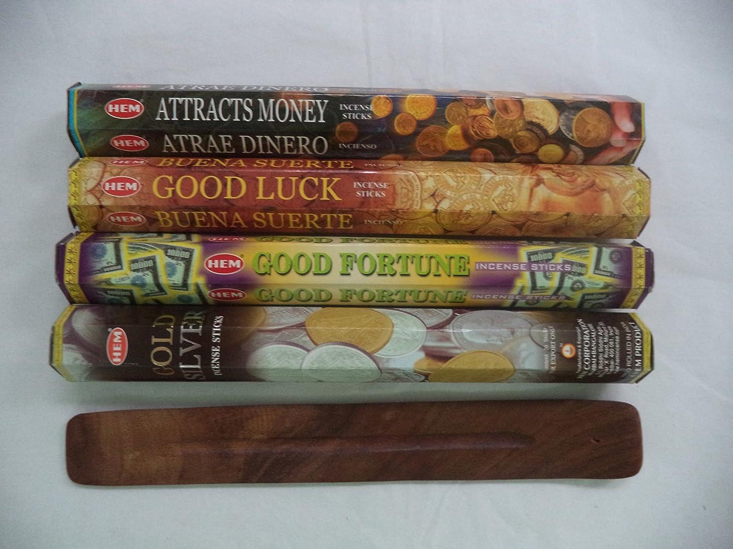 解釈するヤギ陽気なHemお香スティックattracts money good luck good fortuneゴールドシルバー= 80?Sticks + Burner 。