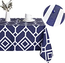 LUSHVIDA Moroccan Rectangle Table Cloth – Washable Water Resistance Microfiber Moroccan Tablecloth Decorative Table Cover for Picnic Banquet Party Kitchen Dining Room, 150 GSM (60 x 84 Inch, Navy