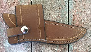 Custom Leather Sheath for Buck 119 Knife; Water Buffalo Dyed Golden Brown;Cross Draw, can be Worn on Either Right or Left-Hand Side. Pliable and Durable. Knife not Included. Made in USA