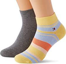 Tommy Hilfiger Men's Color Stripe Quarter Socks (2 Pack)