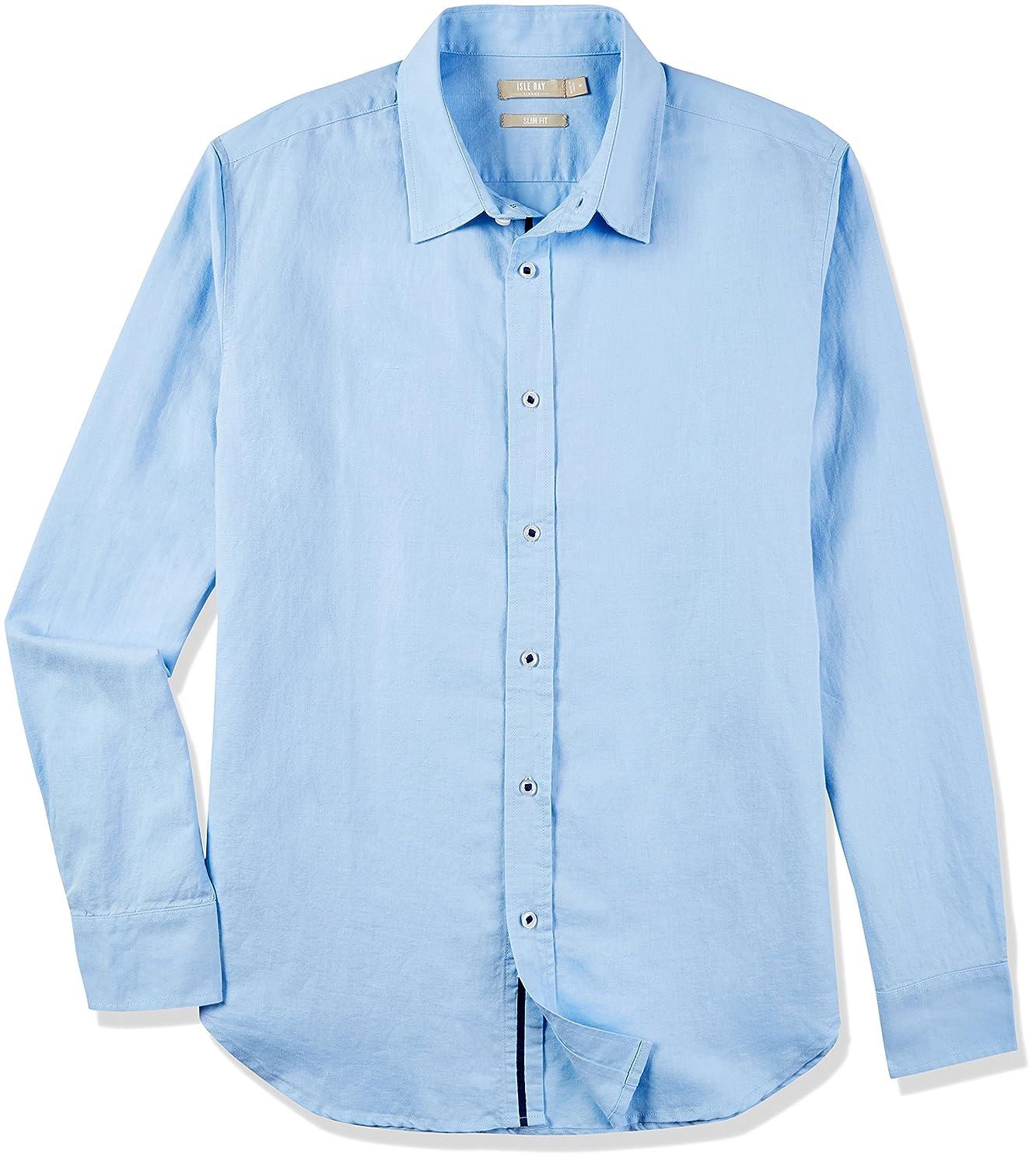 Isle Bay Linens Men's Linen Cotton Slim-Fit Long Sleeve Casual Shirt