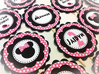 12 Cupcake Toppers - Minnie Mouse Inspired Hot Pink Happy Birthday Collection - Pink Polka Dots Black Scalloped Circle - Party Packs Available