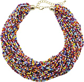 Multicolor choker Native American style necklace Wide colorful necklace with flowers \u0412right necklace Huichol necklace Wide necklace