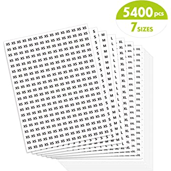 """5400 PCs Clothing Size Round Sticker Labels Mega Bundle in 7 Sizes (XS, S, M, L, XL, XXL, XXXL) with Perforation Line, Perfect Proportion, 1/2"""" in Diameter"""