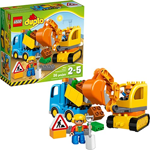 new arrival LEGO DUPLO Town Truck & Tracked Excavator popular 10812 Dump Truck and Excavator Kids Construction Toy with discount DUPLO Construction Worker Figures (26 Pieces) online sale