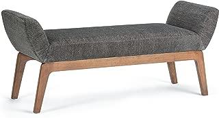 Simpli Home Sabrina 56 inch Wide Mid Century Modern Ottoman Bench in Deep Azure Fabric