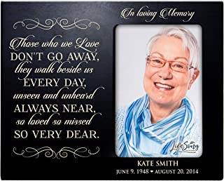 LifeSong Milestones Personalized Memorial Sympathy Picture Frame, in Loving Memory Those Who We Love Don't Go Away They Walk Beside Us, Custom Frame Holds 4x6 Photo, Made in USA (Black)