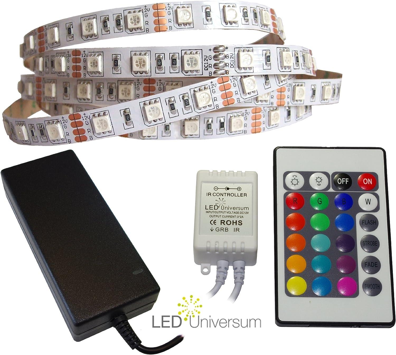 3 Meter RGB LED Streifen Set (60 LED m, IP20) inkl. Controller, 24 Tasten Fernbedienung und 6 A Netzteil