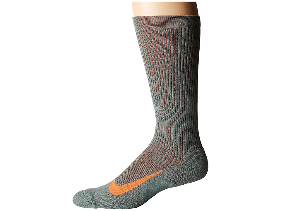 Nike Elite Merino Cushioned Crew Running Socks (Clay Green/Sequoia/Hyper Crimson) Crew Cut Socks Shoes