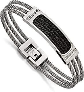 Men's Stainless Steel, Black IP Cable, Grey Cable Diamond Bracelet, 7.75