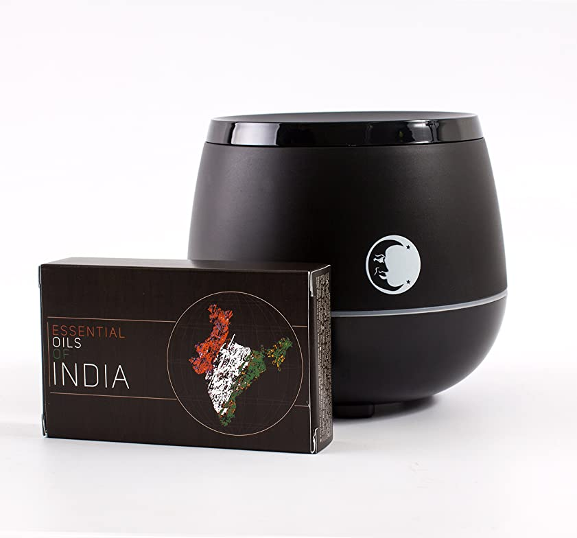 タイマー未亡人焦げMystic Moments | Black Aromatherapy Oil Ultrasonic Diffuser With Bluetooth Speaker & LED Lights + Essential Oils Of India Essential Oil Gift Pack
