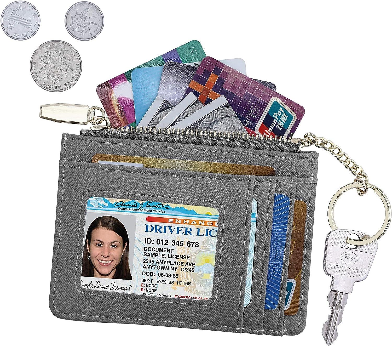 Blue Women RFID Blocking Keychain Wallet Slim Card Case Holder Zip ID Case Wallet Small Leather Wallet Coin Purse Pocket Wallet