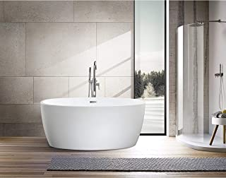 Vanity Art 55-Inch Freestanding White Acrylic Bathtub | UPC certified Modern Stand Alone Soaking Tub with Polished Chrome Slotted Overflow & Pop-up Drain - VA6834-S