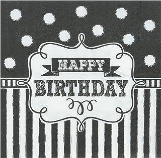 "Amscan 501671 Birthday Beverage Napkins, Black/White, 5"" x 5"""