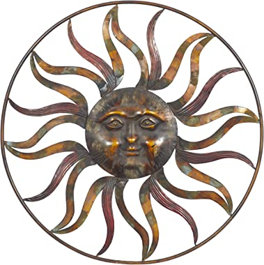 "Deco 79 97917 Sun Face Wall Decor, 36""Diameter, Textured Bronze Finish"