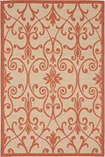 Unique Loom Outdoor Botanical Collection Traditional Border Transitional Indoor and Outdoor Flatweave Beige /Terracotta Area Rug (4' 0 x 6' 0)