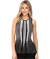 CATHERINE Catherine Malandrino - Sleeveless Plaited Rib Peplum Top