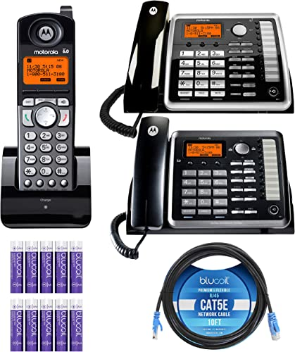 high quality Motorola ML25254 Expandable 2-Line Business Phone with Digital Answering System Bundle with ML25260 Corded Desk Phone, ML25055 DECT 6.0 Cordless Handset, Blucoil 10' Cat5e online Cable and 10 AAA outlet sale Batteries online