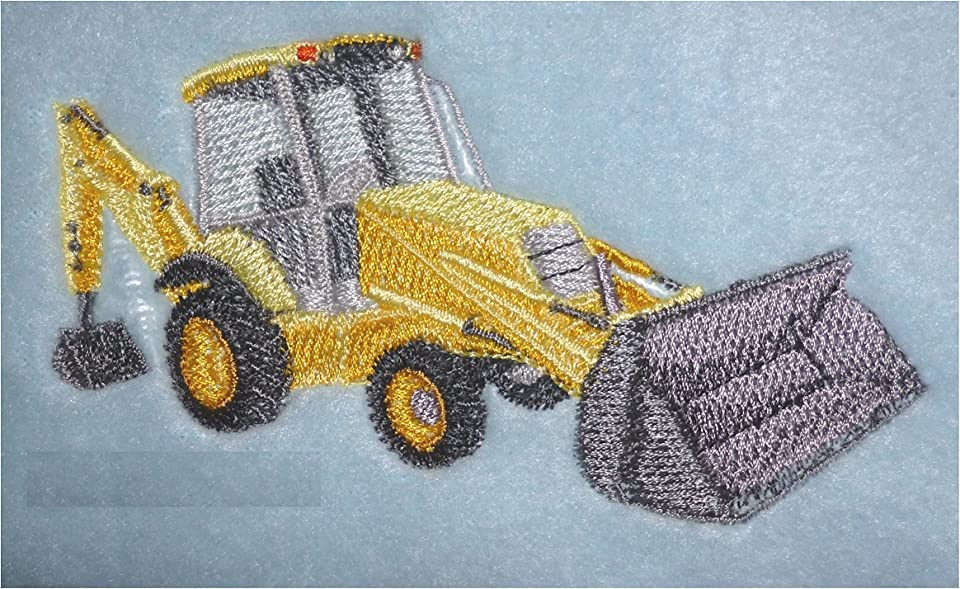 Digger Design (202) Cotton Hand Towel - Embroidered & Personalised (Bluebell)