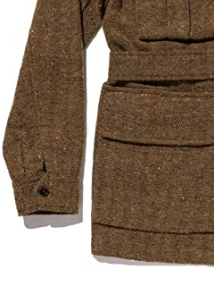 Blended Wool Linen Military Utility Jacket 11-18-5544-139: Khaki