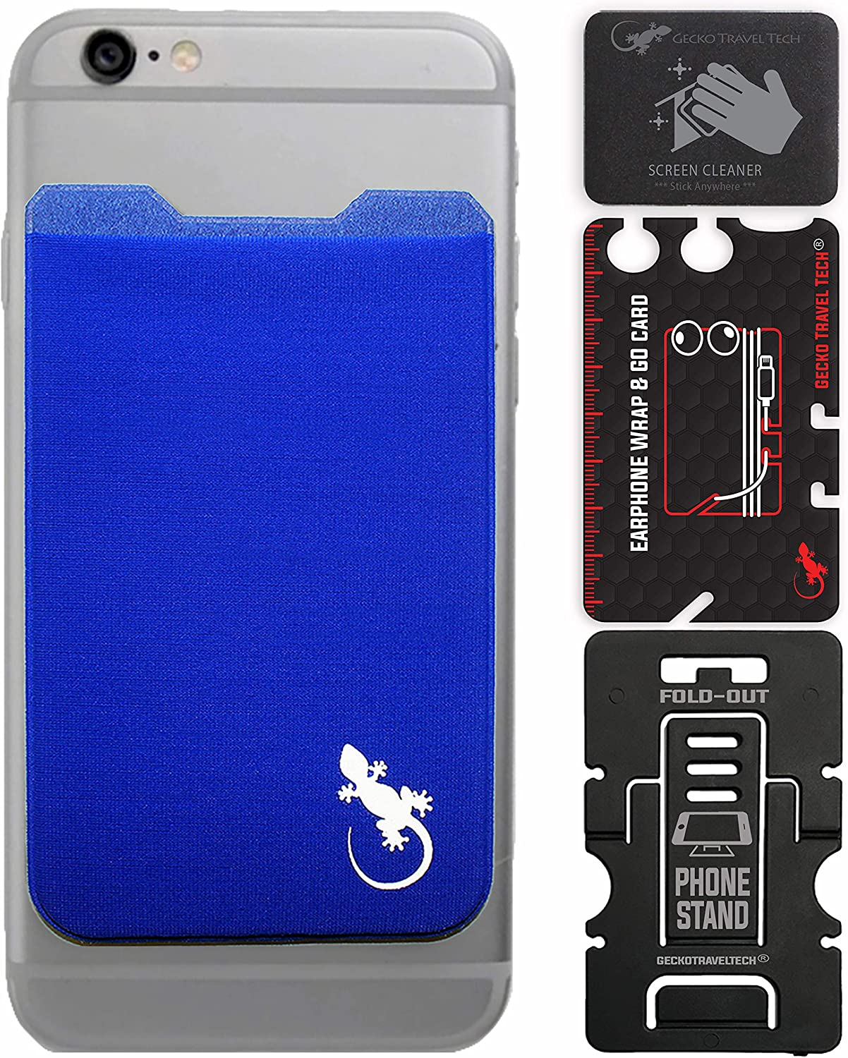 Gecko Travel Tech Blue Phone Wallet Adhesive - Blue Case Wallet for All Smartphones - Cellphone Case Wallet Blue