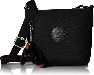 Kipling Austin Small Crossbody Bag, Adjustable Strap, Zip Closure, Black Cloud Tonal
