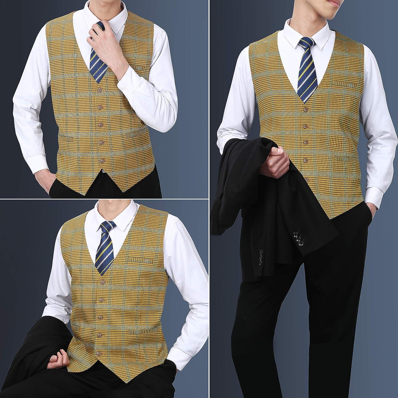 1960s Men's Clothing Mens Suit Vest Formal Plaid Dress Waistcoat for Men Business Slim Fit Vests with 3 Pocket Vest for Suits or Tuxedo  AT vintagedancer.com
