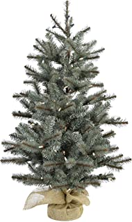 Fraser Hill Farm 2-Ft. Heritage Pine Artificial Tree with Burlap Base and Battery-Operated LED String Lights, FFHP028-5GRB Christmas Decoration, Green