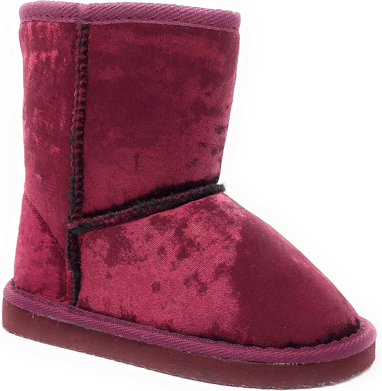 Simple Petals Girl's Warm Winter Cozy Velvet Shearling Boot