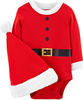 Carter's Unisex Baby 2-Piece Christmas Bodysuit & Hat Set (3 Months, Red Santa)