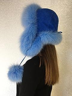 80eeb6c840503 Arctic Fox Fur Aviator Hat with Blue Suede Saga Furs Trapper Light Blue