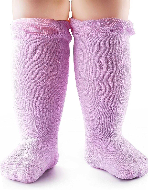 BabaMate 2 Pairs Terry Cotton Baby Knee High Socks – Newborn infant Knee Socks Boys Girls