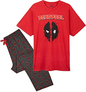 MARVEL Deadpool Pyjamas for Men, 2 Piece Mens PJs Set with Character Tshirt and Cotton Lounge Bottoms, Official Avengers M...
