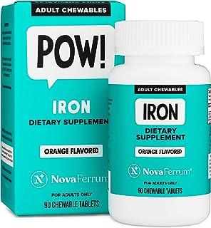 NovaFerrum Chewable Iron Supplement for Adults, 36 mg Elemental Iron, Sugar Free, Vegan, Gluten Free, Orange Flavor (90 Co...