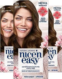 Clairol Nice'n Easy Permanent Hair Color, 5N Medium Neutral Brown, 3 Count
